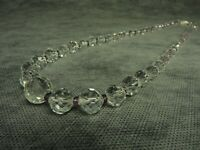1940's Vintage Czech Bohemian Clear Faceted Crystal Glass Bead Necklace