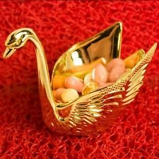 """Set of 12 Beautiful Gold Swan Wedding Favors Candy Dish Containers 3"""""""
