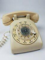 Vintage Bell Dial Telephone Western Electric Beige Cream Rotary Desk Phone 500DM