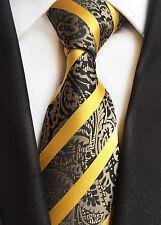 New Classic Stroped Paisley Gold Brown JACQUARD WOVEN Silk Men's Tie Necktie