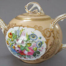 Antique 19thC PIRKENHAMMER HP Porcelain TEA POT * FLOWERS Lush GILT Accents Trim