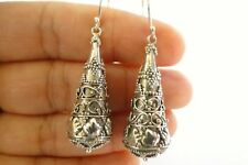 No Stone Ornate Dome Shaped 925 Sterling Silver Dangle Drop Earrings
