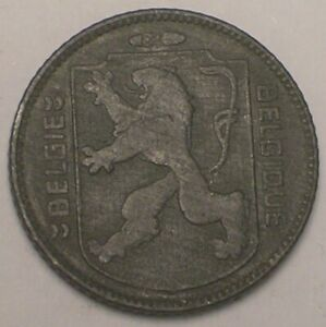 1944 Belgium Belgian One 1 Franc WWII Occupation Lion Coin