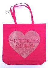 VICTORIAS SECRET PINK SEQUIN HEART CANVAS TOTE SHOPPING BEACH BAG Free Shipping