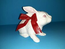 Vintage Scioto ceramic Bunny Rabbit 1985 White With Red Bow, Signed