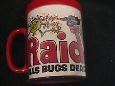 """Vintage Advertising Art Coffee Mug """" RAID KILLS BUGS DEAD """" Bug Spray Mug - MINT"""