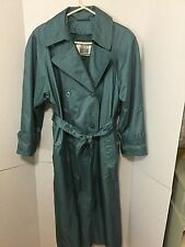 Fleet Street Green Long Doubled Breasted Lined Trench Coat All Weather Size 8