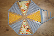 handmade grey / orange yellow/owls bunting