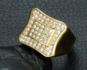 1.32CT NATURAL ROUND DIAMOND 14K SOLID YELLOW GOLD RING FOR MEN SIZE 9 TO 11