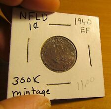 1940 NEWFOUNDLAND Canada 1 Cent EF Extremely Fine Mintage: 300,000 Small Cent