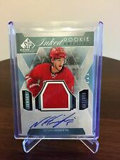 2015-16 Noah Hanifin UD SP Game Used Rookie Inked Sweater Auto 68/149