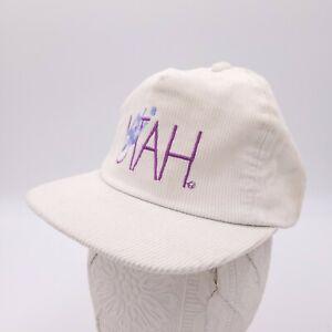Vintage Ski Utah White Corduroy Snapback Hat Womens Childrens