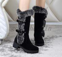 Womens Winter Fur Trim Faux Suede Block Chunky Heels Warm Snow Mid-Calf Boots SZ
