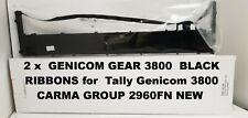 GENICOM GEAR 3800 2 x BLACK RIBBONS for  Tally Genicom 3800 2960FN NEW