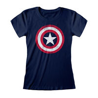 Official Captain America Shield T Shirt Marvel Distressed Ladies Skinny SMLXLXXL