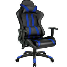 Chaise fauteuil siège de bureau racing sport tissu baquet voiture réglable bleu