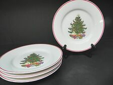 Cuthbertson American Christmas Tree Red Trim Salad Plates (Set of 4)