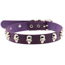 Women Gothic PU Leather Skull Head Spike Stud Rivet Collare Choker Necklace