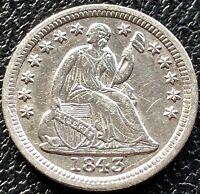 1843 Seated Liberty Half Dime 5c High Grade AU  #15516