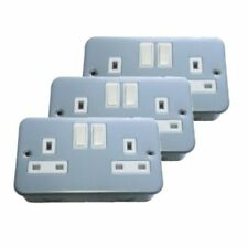 3x Metal Clad Double / Twin Electrical Switch Socket 13amp (Free Delivery)