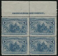 US Stamps - Scott # 230 - Imprint Block of 4 - Mint Never Hinged - MNH   (E-034)
