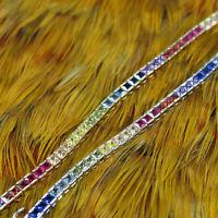 14K Gold Plated 925 Sterling Silver Rainbow Tennis Bracelet Square Diamonique