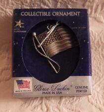 "Gloria Duchin USA Flag Pewter Collectible Ornament W/Pin 3"" Tall New NIB"