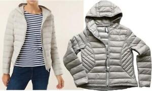 NEXT SILVER BEIGE Packaway Padded Winter Duck Down Coat Jacket Warm Snug £50 UK6