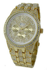 Mens Iced Bling Hip Hop CZ Crystal 14k Gold GP Metal Geneva Platinum Watch 1517g