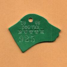 1966 MT? BUTTE Montana? DOG Tax TAG #925 ALUMINUM Dog Head Shape UNUSED VG+