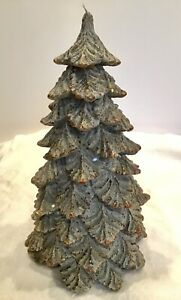 "POTTERY BARN ICY GLITTER TREE CANDLE Large 11"" Christmas Tree Candle~12 Hr Burn"
