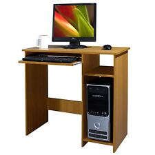 WOODEN COMPUTER DESK WORKSTATION BEECH WOOD PC LAPTOP SLIDING KEYBOARD HOME