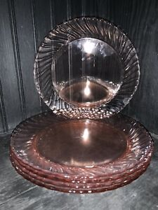 Vintage Arcoroc France Rosaline Pink Swirl Glass Dinner Plates(5)