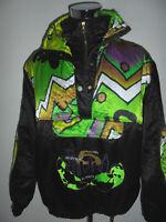vintage italy 80s Nylon ski Jacke oldschool Skijacke glanz neon blouson M/L