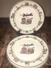 "INTERNATIONAL TABLEWORKS ~ (4) Dinner Plates Susan Winget ""Windy Hill"" Pattern"