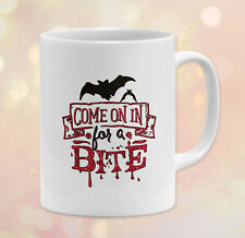 New listing 11 oz Halloween Coffee Mug • Come On In For A Bite Bats Gift Dishwasher Safe