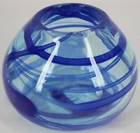 "Studio Art Glass Hand Blown Blue Clear Swirl Band Vase Bowl 3.9"" Tall"