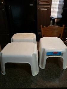 3 - RUBBERMAID  STEP STOOL WHITE  NON-SKID