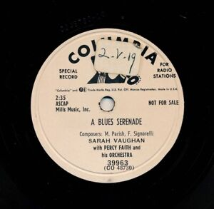 SARAH VAUGHAN 1953 Columbia 39963 - A Blues Serenade / Spring Will Be a Little..