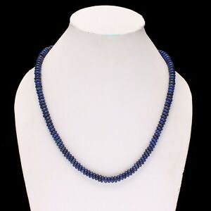 """AAA+ Lapis Lazuli Smooth Roundel Beaded Necklace,Healing Jewelry 18"""" Inch."""
