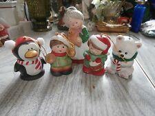 Vtg Lot Jasco Flocked Mrs Santa Claus Penguin Cat Boys Christmas Bells Figurines