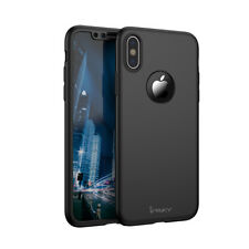 Ipaky Apple Iphone X Black 360 Protection Case Cover Tempered Glass Protector