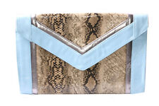 Large Cluch Bag In Baby Blue,Beige&Silver Colours Snake Skin Glossy Motif (S614)
