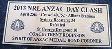 SYDNEY ROOSTERS 2013  ANZAC DAY CLASH Gold  Plaque F/Post
