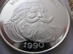 1-OZ.999 RARE SILVER 1990 CURRIER IVES CHRISTMAS SANTA WREATH BIRD COIN + GOLD