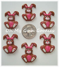 6PC PINK CHOCOLATE EASTER BUNNY BOW FLAT BACK FLATBACK RESIN HAIRBOW BOW CENTER