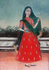 Ancienne peinture sur verre indienne représentation d'une Maharani Inde 19e