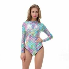 Mermaid Shiny Long Sleeved Spandex Swimsuit Swim Costume Leotard Size S Rear Zip