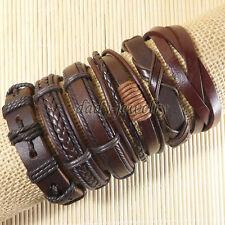 6pcs Casual Genuine Leather Bracelet Men Women Bracelets Free Shipping-D40
