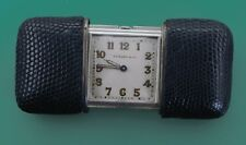 Vintage 1940's TIFFANY & CO Purse Watch by MOVADO Sterling Shagreen Leather Case